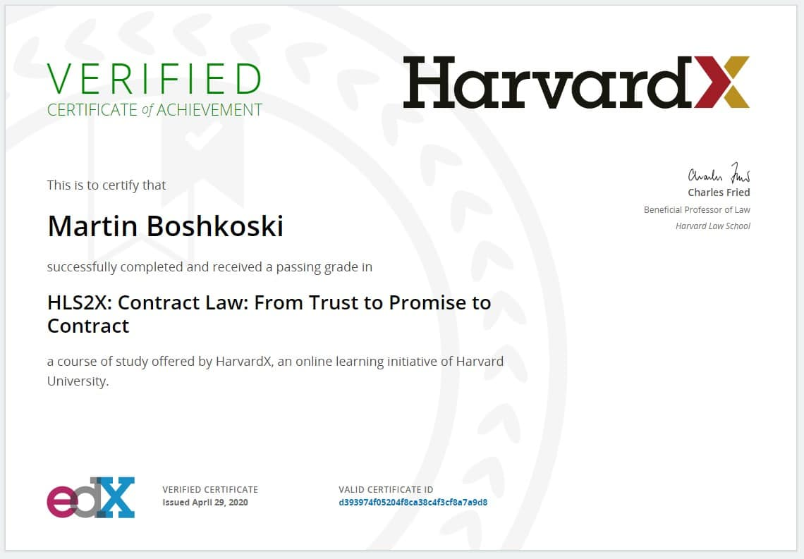 HarvardX Contract Law
